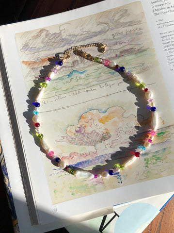 Pearl and Rainbow Glass Necklace