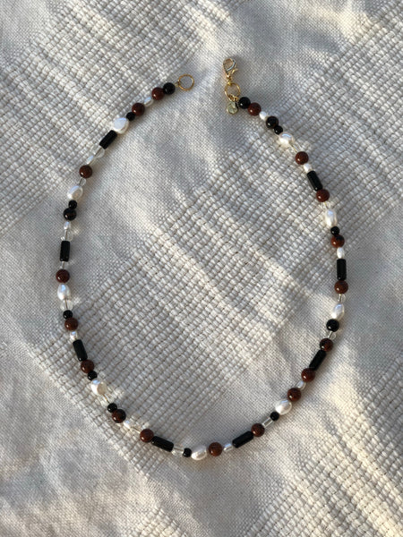 Gemstone, Pearl and Glass Necklace