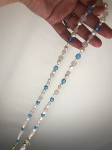 Rose Quartz, Pearl and Blue Mask to Glasses Chain