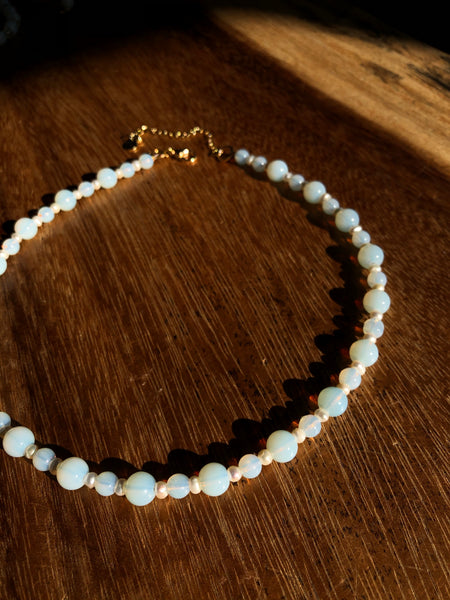 Opalite and Pearl Necklace