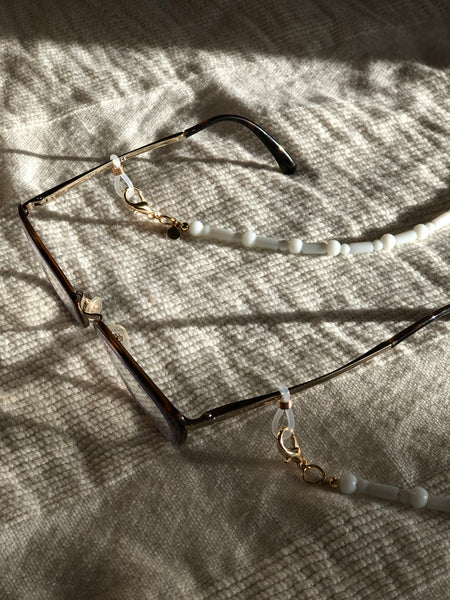 Milky White Glass Mask to Glasses Chain