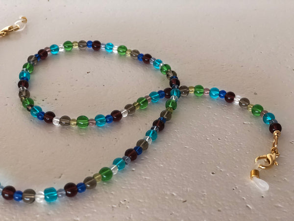 Multi Coloured Glass Bead Mask to Glasses Chain