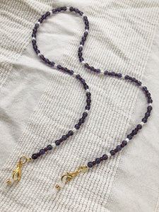 Purple with Pearl Mask to Glasses Chain
