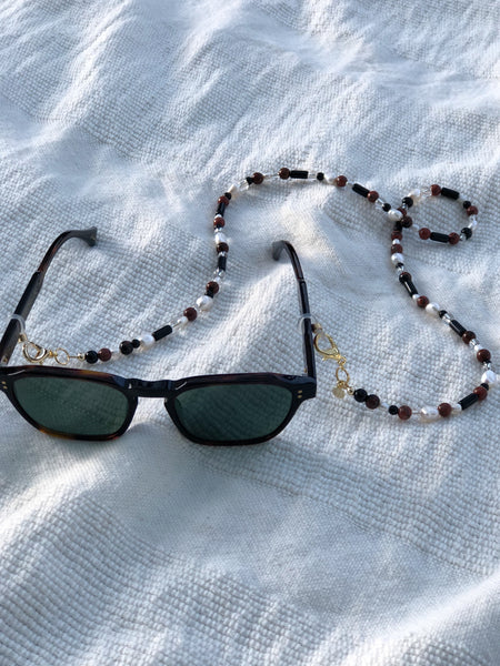 Red Jasper, Pearl and Glass Mask to Glasses Chain