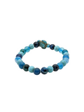 Blue Agate - Tiger Eye & Turquoise gemstone Turtle bracelet 7""