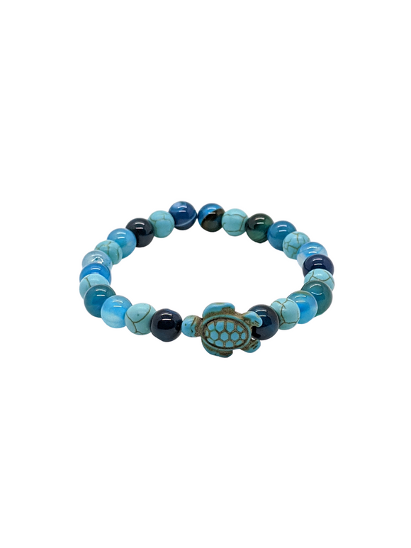Blue Agate - Tiger Eye & Turquoise gemstone Turtle bracelet 7
