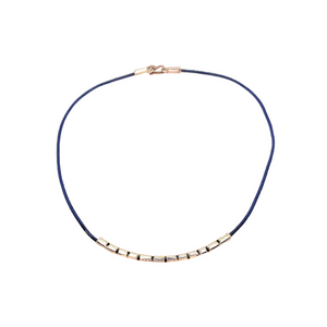 Navy Blue leather and Sterling Silver Choker Necklace