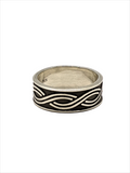 Double Wave oxidized Sterling Silver mens ring Size 9 - 10