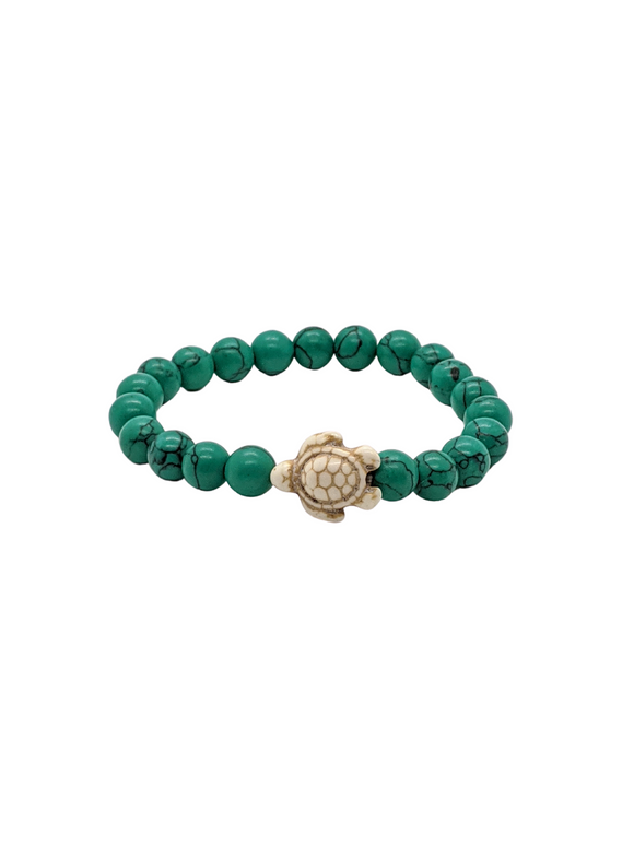 Green Howlite Turtle gemstone bracelet 6