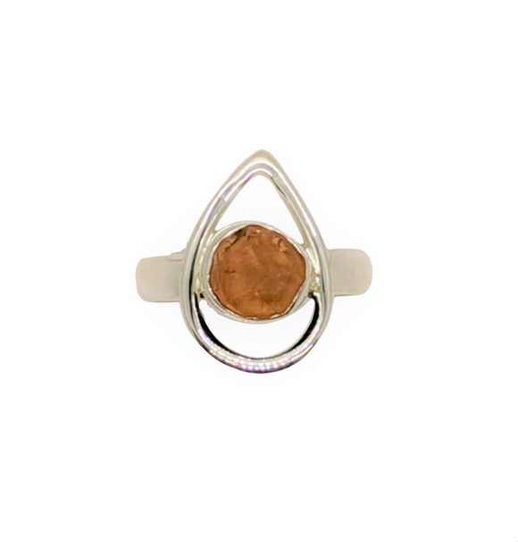 Orange Garnet and Sterling silver womens ring Size 6 - 7