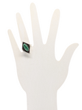 Malachite Oxidized Sterling Silver womens ring Size 8
