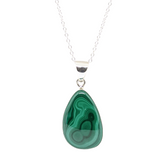 "Malachite in Sterling Silver 20"" necklace"