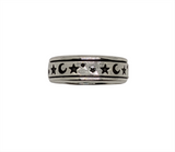 Moon & Stars Sterling Silver Mens ring Size 9 - 10 - 11