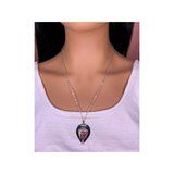 "Ohio Flint gemstone and 925 Sterling Silver Pendant Necklace 22"" chain"