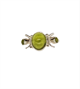 Peridot and Sterling Silver womens ring Size 6