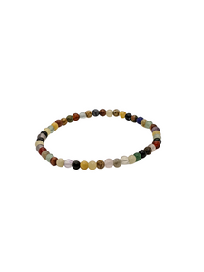 Mixed Agates and Sandstone gemstone bracelet 7""