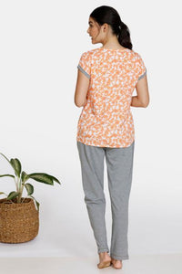 Zivame Bohemian Magic Rayon Pyjama Set - Orange