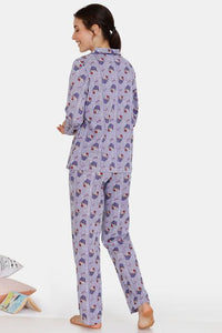 Zivame Sweet Treats Cotton Pyjama Set - Purple