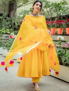 Yellow Cotton Anarkali Suit with Printed Dupatta