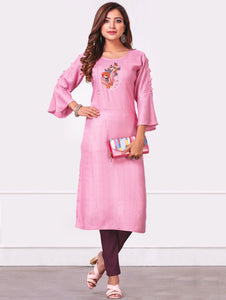 Pink Rayon Floral Embroidered Straight Cut Kurti with Bell Sleeves