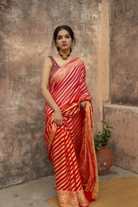 Fabulous Orange Color Silk Saree With Blows