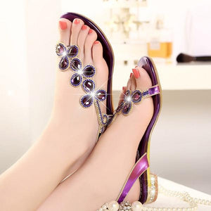Summer Bohemia Rhinestone Women Flat Sandals.