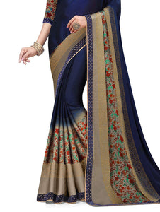 SIRIL Women's Chiffon Printed Embellished Lace Saree with Blouse