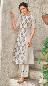 Cream With Blue Block Print, Angraka Maxi Handloom Cotton Kurti
