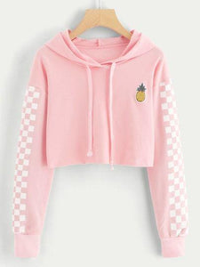 Women Autumn Winter Water Color Hoodies Pink Long Sleeve Hooded Cropped