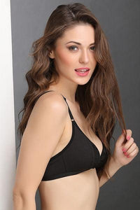 Cotton Rich Non-Padded Front Open Plunge Bra In Black