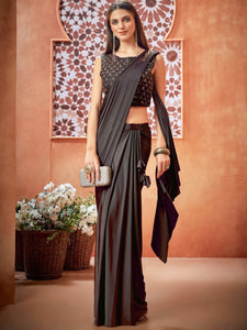 Coffee Lycra Ready to Wear Saree