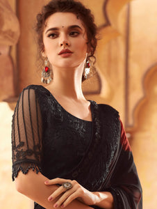 Black and Red Georgette Saree with Sequins and Fringes Lace
