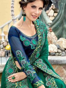 Green Georgette Plain Saree with Embroidery Border