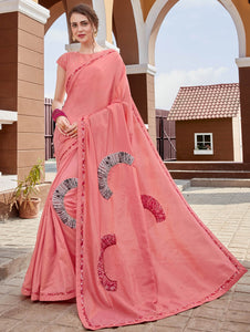 Peach Georgette Saree with Embroidery