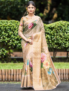 Beige Organza Digital Floral Printed Saree with Woven Border