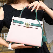 Load image into Gallery viewer, Genuine leather Litchi pattern Patchwork Kelly Bag - Guangzhou Xiaoniu woman handbag factory