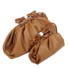Load image into Gallery viewer, Genuine Leather Dumpling Ruched Cloud Clutch Purses Crossbody Bags - Guangzhou Xiaoniu woman handbag factory
