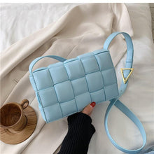 Load image into Gallery viewer, New High quality PU Leather Women's Designer knit Square Crossbody Weave Flap Shoulder Bags - Guangzhou Xiaoniu woman handbag factory