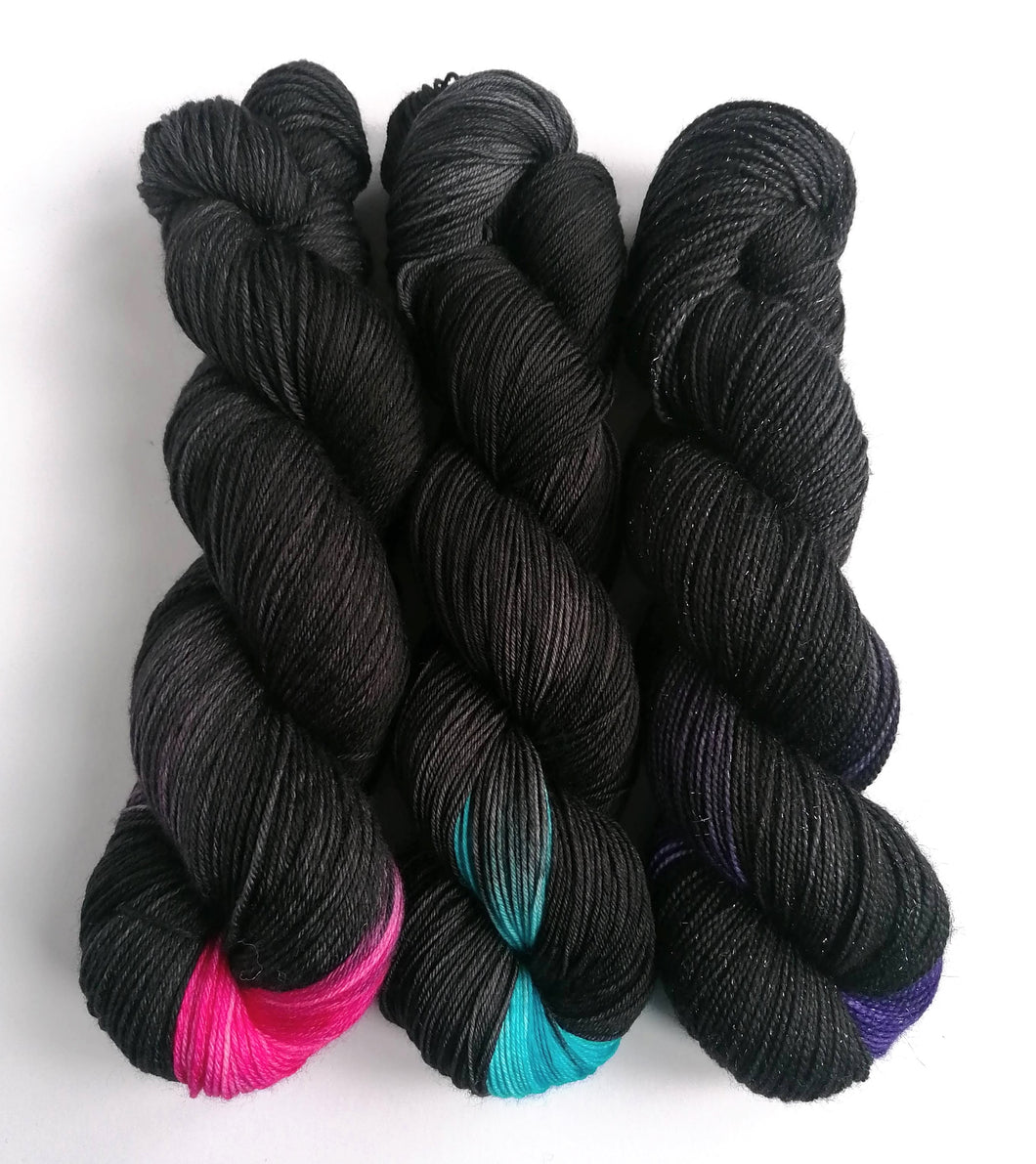 Hand dyed yarn pre-order - Black Like My Heart - Dyed to Order. Request colour at checkout.