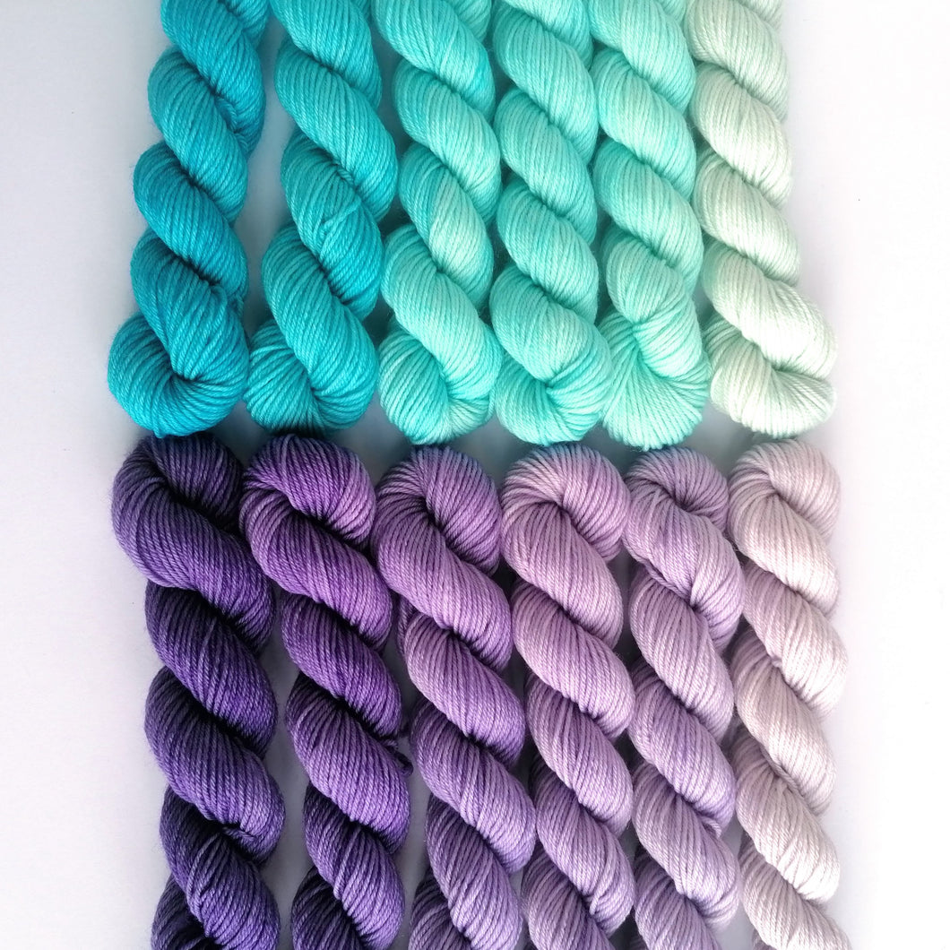 Jack Frost hand dyed mini skeins. 12 x 20g sock, sparkle sock, and DK minis.
