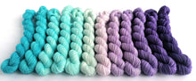 Load image into Gallery viewer, Jack Frost hand dyed mini skeins. 12 x 20g sock, sparkle sock, and DK minis.