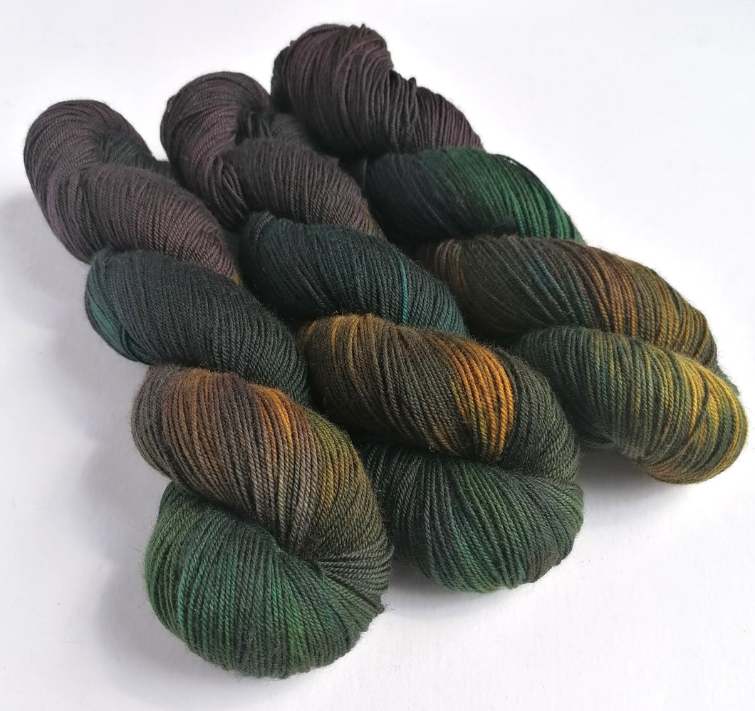 Mutiny on Superwash Merino/Yak/Nylon sock yarn.