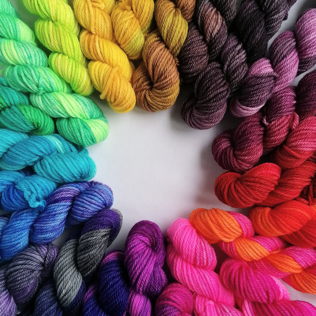 Advent gradient hand dyed mini skeins. 24 x 20g sock yarn minis.