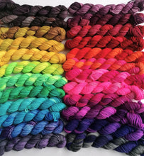 Load image into Gallery viewer, Advent gradient hand dyed mini skeins. 24 x 20g sock yarn minis.