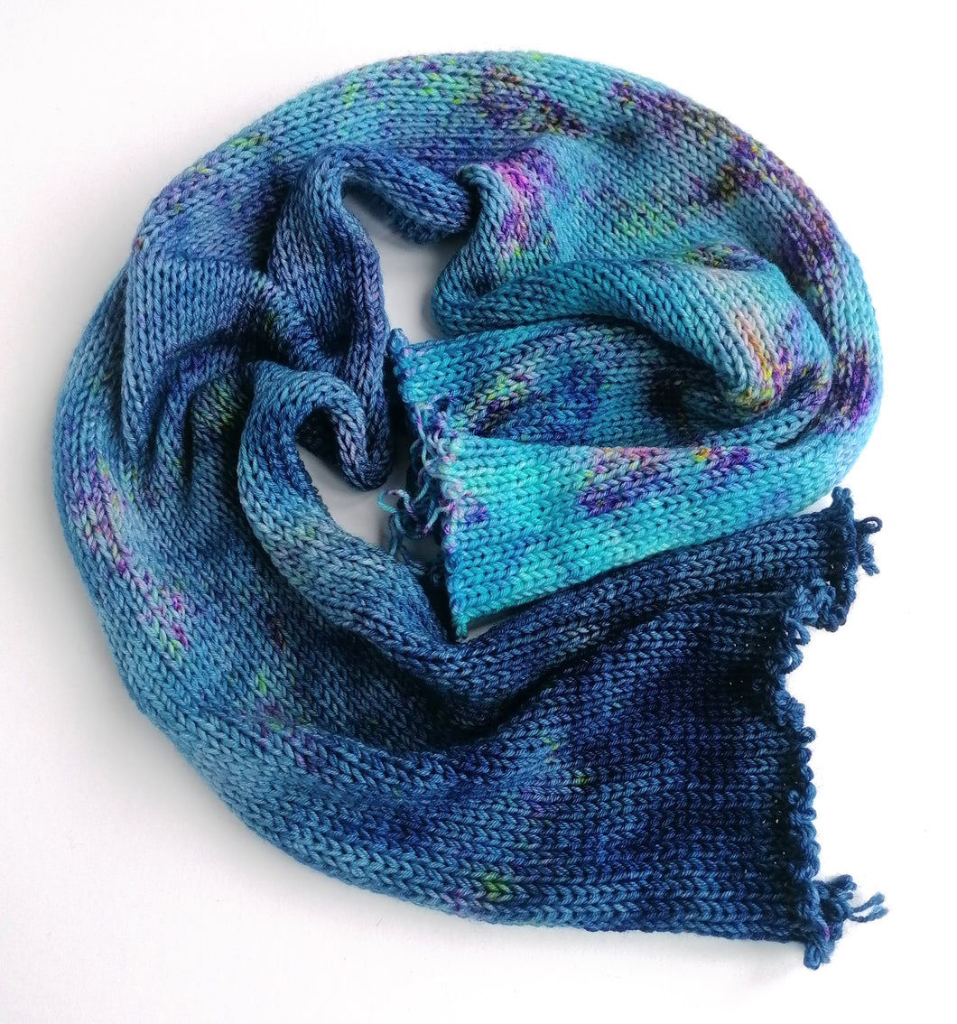 Hand dyed double sock yarn blank in a Superwash Merino/Nylon base, in blues with speckles.