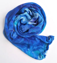 Load image into Gallery viewer, Hand dyed sock blank in a Superwash Merino/Nylon base in marbled blues.