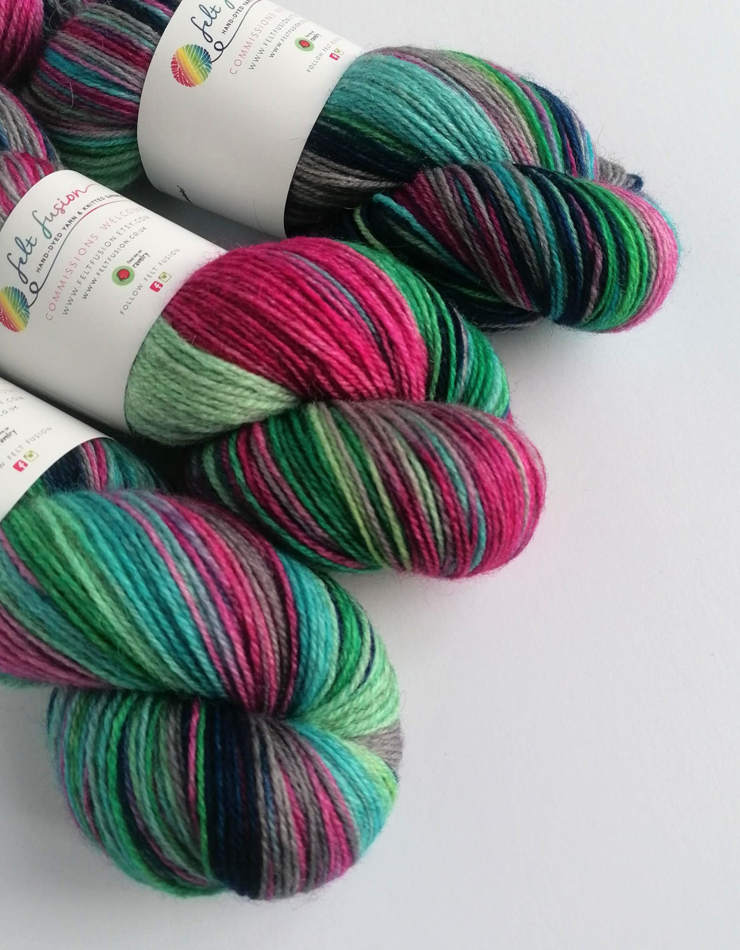 Colours of the Wind, hand dyed on a British wool sock yarn.