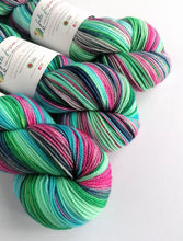 Load image into Gallery viewer, Colours of the Wind on a high twist Superwash Merino/Nylon sock yarn.