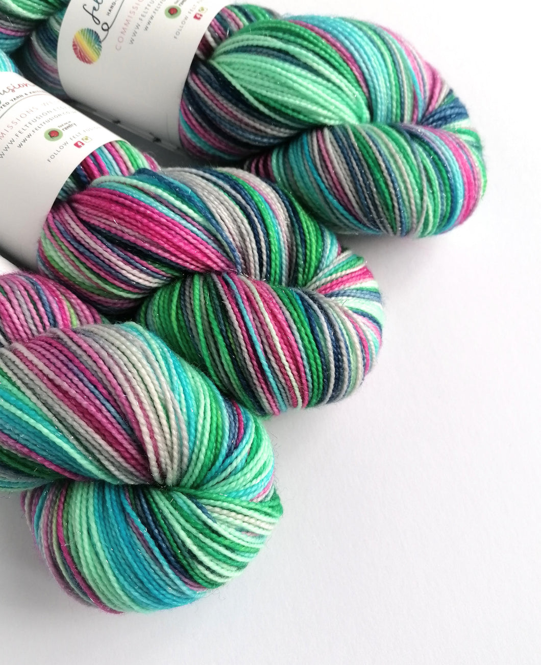 Colours of the Wind, hand dyed on Superwash Merino/Nylon/Sparkle sock yarn.