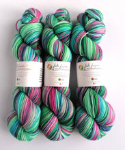 Load image into Gallery viewer, Colours of the Wind, hand dyed on Superwash Merino/Nylon/Sparkle sock yarn.